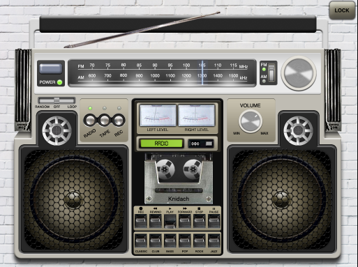Retro Boombox Music Player app for iPad - Home